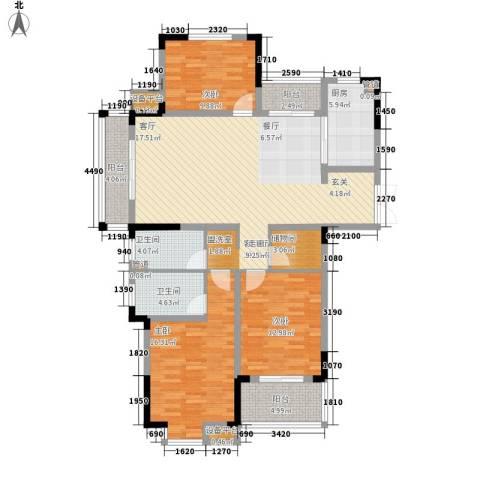 骏浩华庭3室1厅2卫1厨138.00㎡户型图