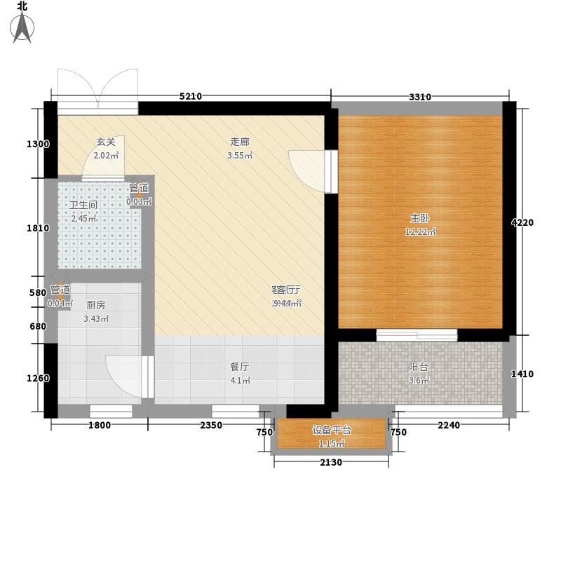 隆基西城摩尔60.00㎡隆基・西城摩尔东/西单元E1室户型
