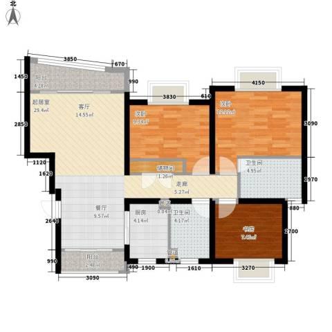 化工新村3室0厅2卫1厨90.00㎡户型图