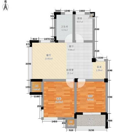 化工新村2室0厅1卫1厨70.00㎡户型图