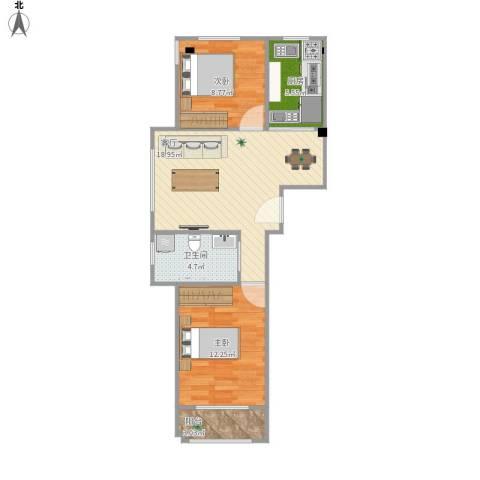 澳海澜庭2室1厅1卫1厨72.00㎡户型图