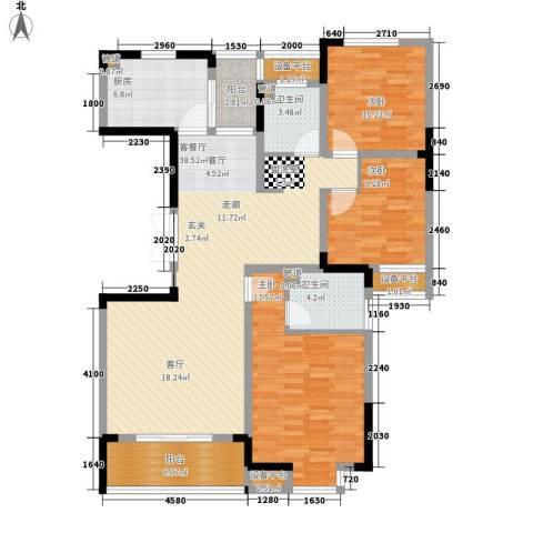 骏浩华庭3室1厅2卫1厨132.00㎡户型图