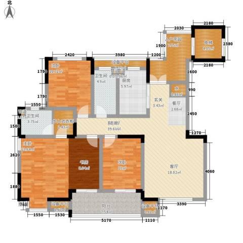 骏浩华庭3室1厅2卫1厨142.00㎡户型图