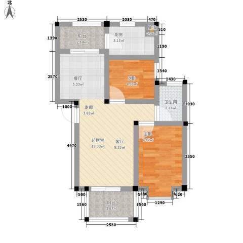 化工新村2室0厅1卫1厨50.00㎡户型图