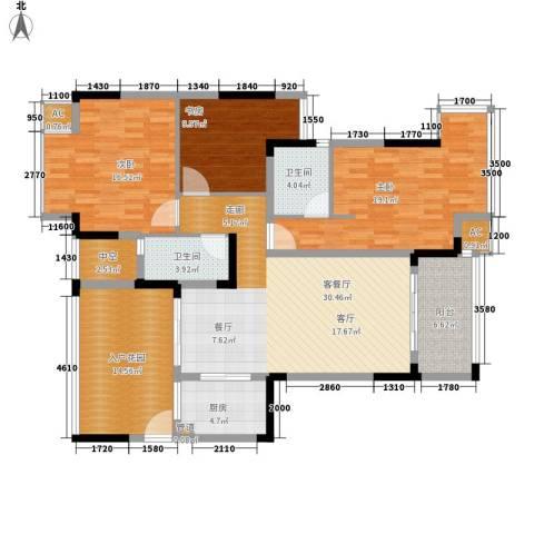 郦城水岸3室1厅2卫1厨124.00㎡户型图