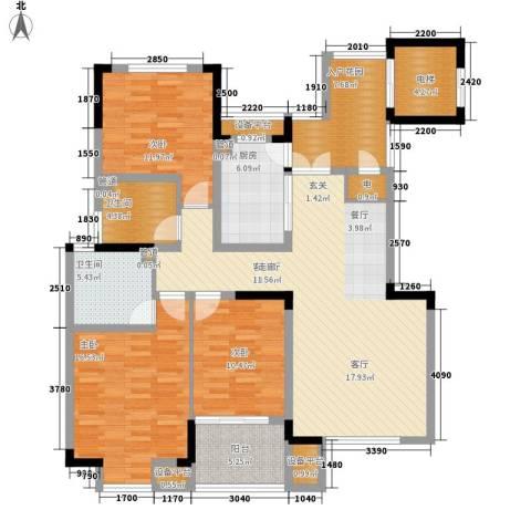 骏浩华庭3室1厅2卫1厨130.00㎡户型图