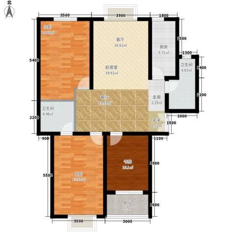 西钦帝景文院3室0厅2卫1厨135.00㎡户型图