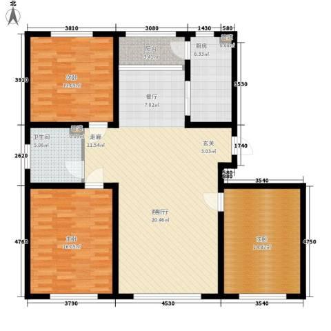 牡丹江国际花都3室1厅1卫1厨142.00㎡户型图