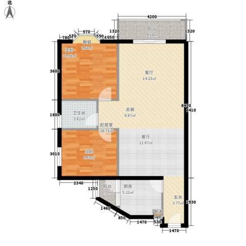 祥和御馨园2室0厅1卫1厨80.00㎡户型图