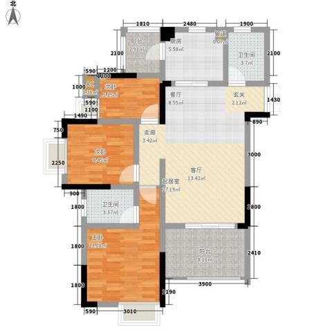 光宇阳光地中海3室0厅2卫1厨84.00㎡户型图
