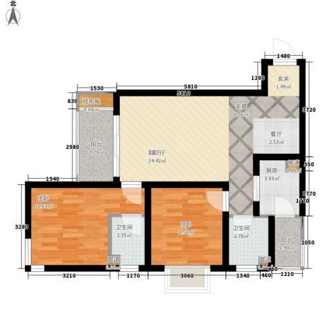 龙湖观山水2室1厅2卫1厨66.00㎡户型图