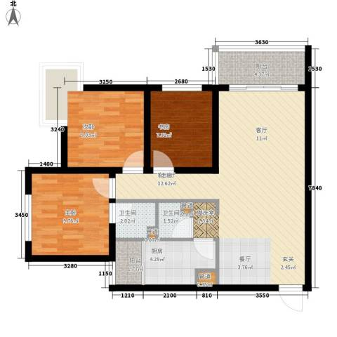 龙湖观山水3室1厅2卫1厨104.00㎡户型图