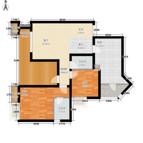 名敦道南滨国际公寓2室1厅2卫1厨82.81㎡户型图