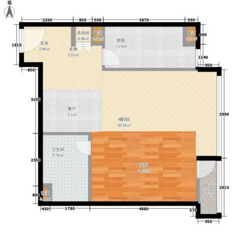 华贸国际公寓1卫1厨66.00㎡户型图