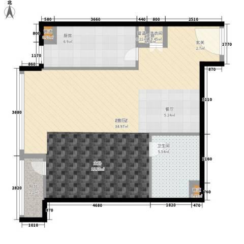 华贸国际公寓1卫1厨68.00㎡户型图