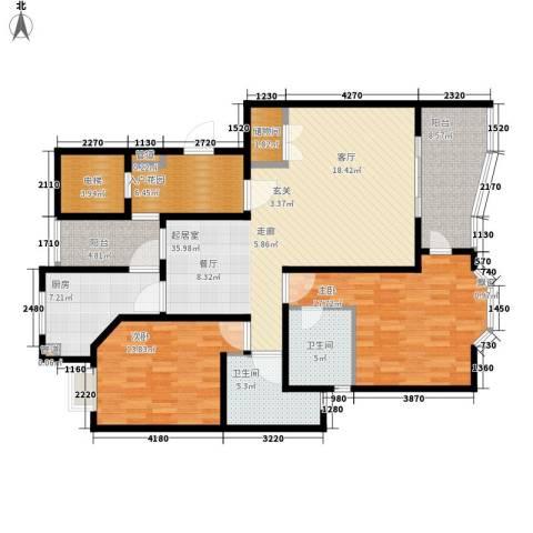强生古北花园2室0厅2卫1厨158.00㎡户型图