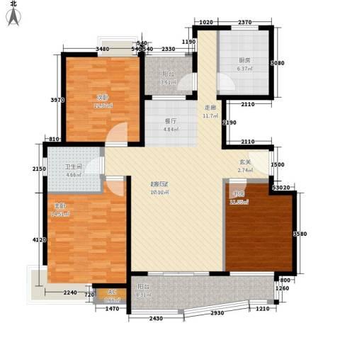 蔚蓝城市花园3室0厅1卫1厨110.00㎡户型图