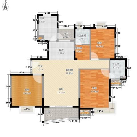 蔚蓝城市花园3室0厅2卫1厨152.00㎡户型图