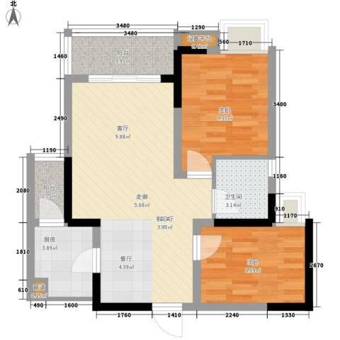 名敦道南滨国际公寓2室1厅1卫1厨59.00㎡户型图