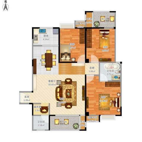 华泉盛世豪庭3室1厅2卫1厨118.00㎡户型图