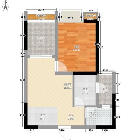 名敦道南滨国际公寓1室1厅1卫1厨40.00㎡户型图