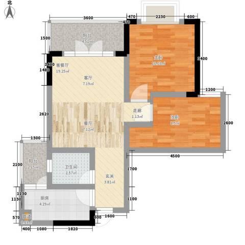 西亚松青大道60号2室1厅1卫1厨69.00㎡户型图