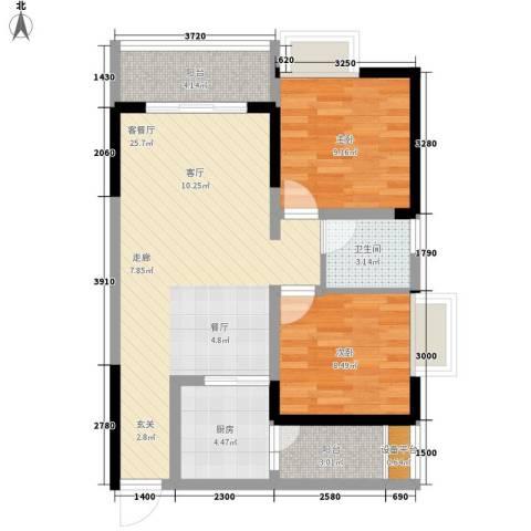 名敦道南滨国际公寓2室1厅1卫1厨64.00㎡户型图