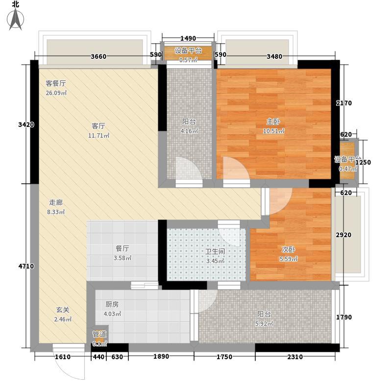 名敦道南滨国际公寓64.30㎡A92面积6430m户型