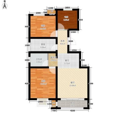 首创康桥郡3室1厅1卫1厨95.00㎡户型图