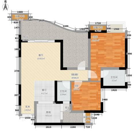 名敦道南滨国际公寓2室1厅2卫1厨79.29㎡户型图