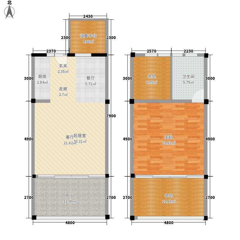 天鹅湖66.26㎡一期loft公寓户型