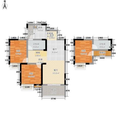 光宇阳光地中海3室0厅2卫1厨82.71㎡户型图