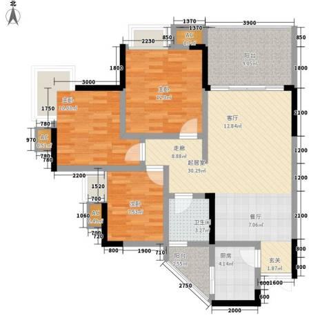 光宇阳光地中海3室0厅1卫1厨82.00㎡户型图