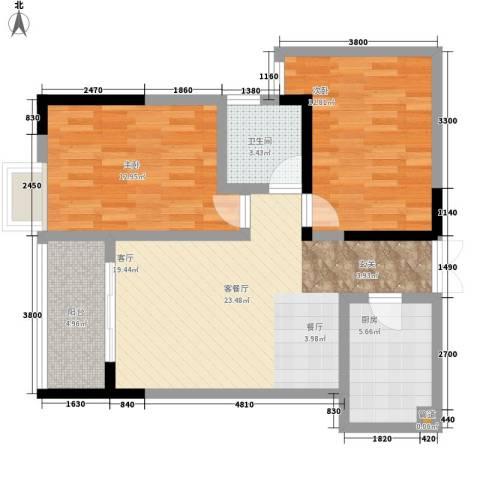 宏声新座2室1厅1卫1厨66.00㎡户型图