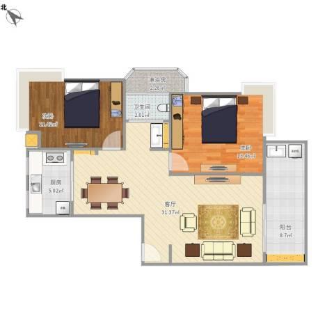 绿地东上海2室1厅1卫1厨100.00㎡户型图