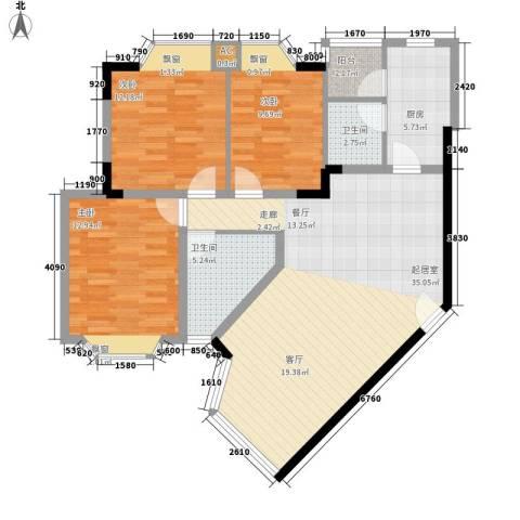祥和御馨园3室0厅2卫1厨97.00㎡户型图
