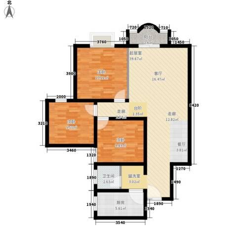 凤天花园3室0厅1卫1厨95.00㎡户型图