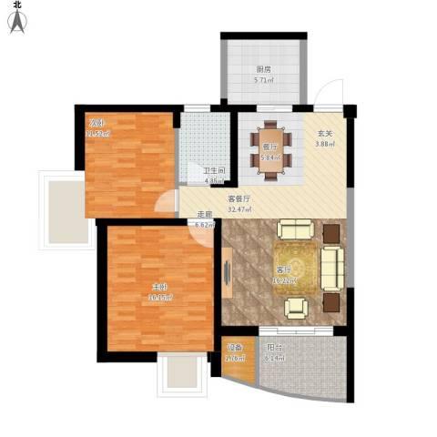 奕翔国际公寓2室1厅1卫1厨112.00㎡户型图