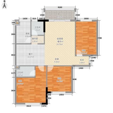 芙景佳园3室0厅2卫1厨137.00㎡户型图