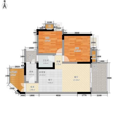 光宇阳光地中海2室0厅1卫1厨70.00㎡户型图