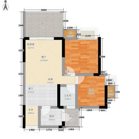 光宇阳光地中海2室0厅1卫1厨58.00㎡户型图