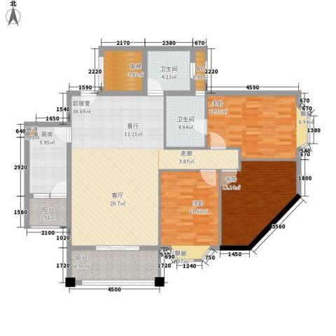 祥和御馨园3室0厅2卫1厨104.00㎡户型图