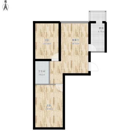 华亨名城2室1厅1卫1厨79.00㎡户型图