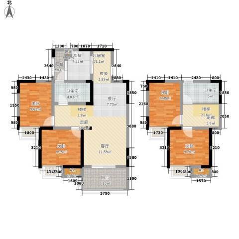光宇阳光地中海4室0厅2卫1厨109.00㎡户型图