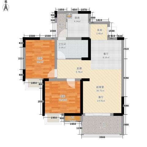 光宇阳光地中海2室0厅1卫1厨74.00㎡户型图