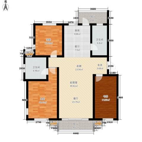 第六大道道俊华园3室0厅2卫0厨155.00㎡户型图