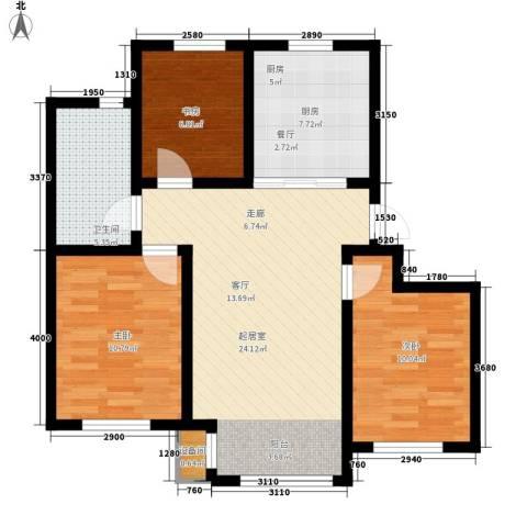 青果青城3室0厅1卫1厨100.00㎡户型图