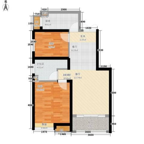 奥克斯盛世年华2室0厅1卫1厨85.00㎡户型图