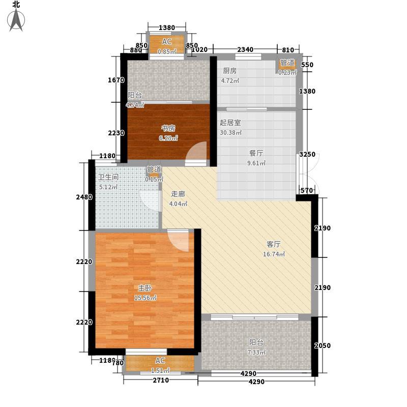 中南世纪城87.38㎡3期5#楼E5户型2室2厅