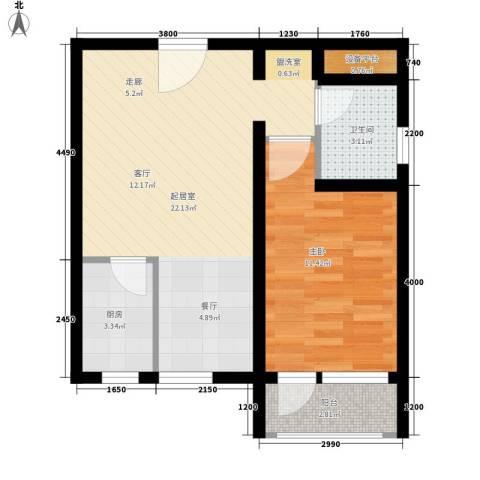 中建二局四公司1室0厅1卫1厨44.00㎡户型图